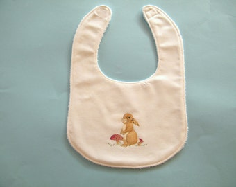 Hand painted bib,  white cotton bib,  terry cloth lined for good absorbency,  bunny bib,  one of a kind bib