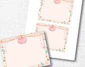 A little pumpkin is on her way thank you card - pink pumpkin flat thank you card - instant download - fall baby shower