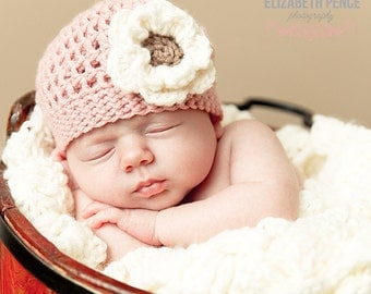 Pink Baby Crochet Girl Hat with Cream and Brown Flower