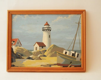 Paint by Number Painting Lighthouse Wood Frame