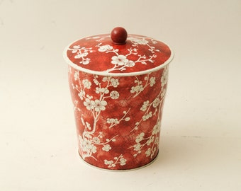 Vintage Tin with Lid Red Cherry Blossoms