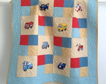 Toddler Quilt Featuring Colorful Embroidered Cars Trucks Emergency Rescue Vehicles Motorcycles School Bus