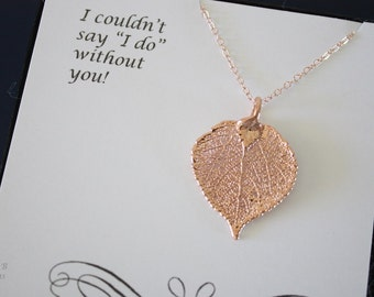 Apsen Leaf Bridesmaid Rose Gold Necklace, Bride Gift, Real Leaf Necklaces,Thank You Card, Gold Aspen Leaf, Bridesmaid Jewelry, Pink Gold