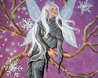 Magical Winter Fairy Painting, fine art, wiccan, pagan, wicca, witch, goddess, witchcraft, fantasy, magic, mystic, elven, fairie decor