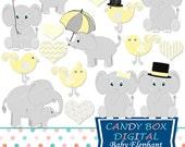 Baby Elephant Clipart, Baby Elephant Clip Art, Yellow Baby Clipart, Baby Clip Art, Baby Clipart, Baby Shower - Commercial Use OK