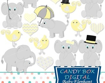 Yellow Baby Elephant Clipart, Gender Neutral Clip Art for Baby Showers - Commercial Use OK