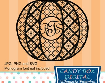 Monogram Pumpkin Silhouette Die Cut for Halloween or Thanksgiving, SVG Files - Commercial Use OK