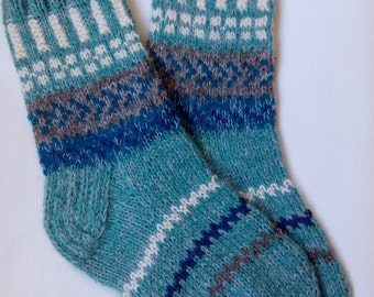 Hand Knitted Wool Socks -Colorful for Women - Size Medium,Large-US W8,5EU39