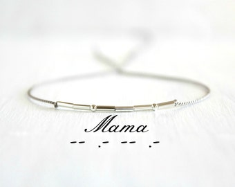 Minimalist Sterling Silver Thin Beaded Silk Cord Bracelet New Mom Gift Mama Mom Morse Code Bracelet Mothers Day Jewelry Gift