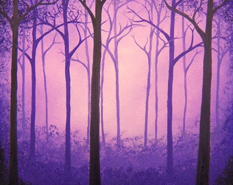 Giclee Print of Purple Forest Painting, Canvas Art Print of Tree Art, Dark Art Original Oil Painting, Whimsical Art, Fairytale Landscape