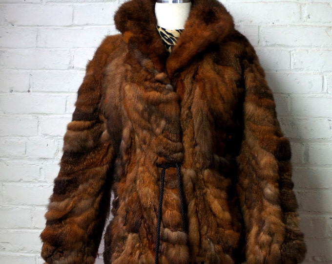 Bohemian Fur Jacket 1960s Vintage Possum Fur Coat X SMALL SMALL Gold Brown Beige Black Patched Tie Waist Boho Hippie Chic Gypsy Fall Winter