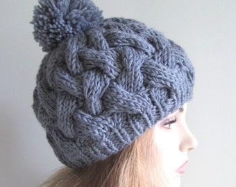 SALE Braided Pompom Beanie Slate Grey Cabled Chunky Tam Hat Gray Berets
