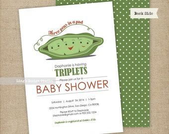 Triplets baby shower invitation/ Three peas in a pod | Printable or Printed