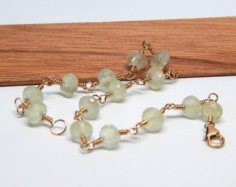 Gold Prehnite Jewelry,  Mint Green Prehnite Bracelet, Mint Green Gemstone Bracelet, Gold Filled Bracelet