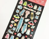 "Kawaii Super Cute ""Kira Kira 4"" Robot Alien Puffy Stickers - Perfect for scrapbooking, card-making, dairy, journaling, etc."