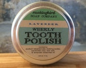 Lavender Herbal Tooth Polish. Weekly Cleaning Powder with Purifying Clay + Essential Oil. All- Natural. Reusable Tin. Tooth Scrub.