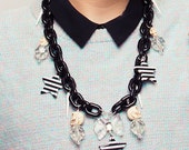 Eighties Disco Starlet, chunky chain necklace, retro creepy cute and street style.