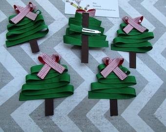 Ready to Ship Christmas Tree Hair Bow
