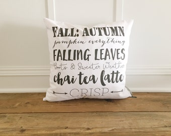 FALL WORDS Pillow Cover