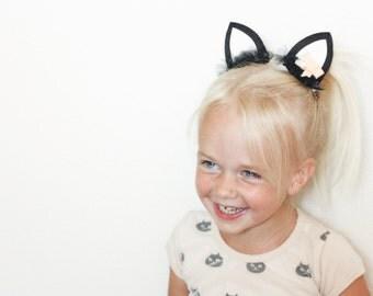 Kitty Cat Hair Felt Hair Clips or Headband - Halloween