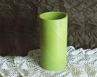 "Vintage Royal Haeger Pottery LIME PEEL 7"" Cylinder Vase -  are 1970s Lava Textured Glaze - Lime Green Ceramic Vase - Mid Century Ceramics"