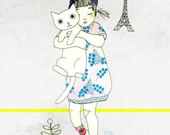"""A5 A4 A3 Art print """"Gigi"""" (Kinu serie) (limited edition)"""