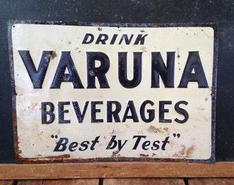 "Antique Metal Sign, Varuna Sign, Drink Varuna Beverages ""Best By Test"" Sign, 9"" x 14"",  Antique Soda Advertising, Black and White Sign"