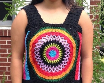 Ready to Ship Colorful Hand Crocheted Tank in Cotton