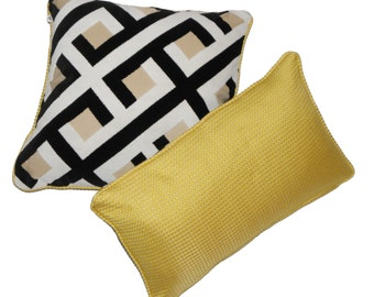 18x18 and 12x20 Accent Pillows Black White Chenille and Yellow Damask