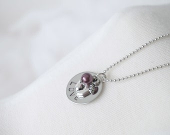 Baby Love - Memorial Necklace - Hand Stamped Disk Necklace - Feet Charm - Choice of Pearl
