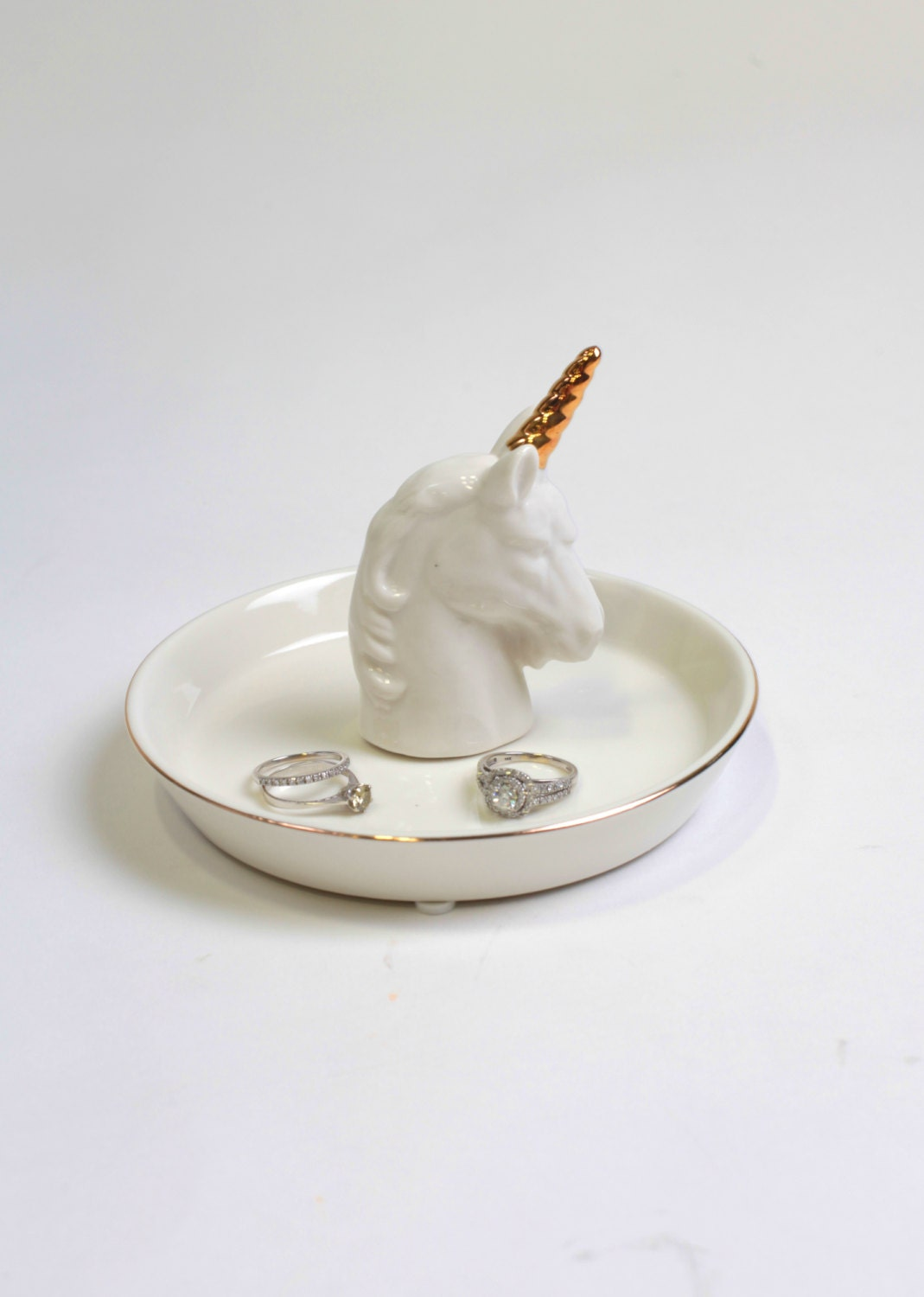 Unique Nightstand Ideas Gold Unicorn Ring Dish White Faux Taxidermy Jewelry Holder