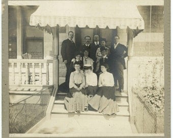 Early 1900s Antique Mounted Photo: Family on Front Porch (57394)