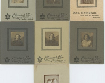 Set of 7 Mini-Portraits of Young Girls, Montreal, c1900 Vintage Mounted Photos (58402)