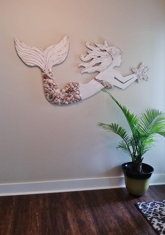 Mermaid wall art large size handmade wood by lucydesignsonline