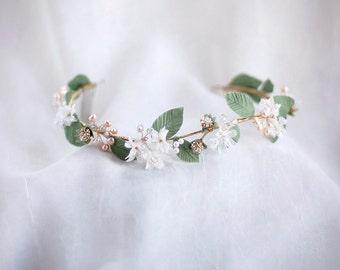 Wedding Headpiece - Flower Hair Vine - Leaf Headpiece - Bridal Hair Accessories - Wedding Headband - Wishpiece HP1518