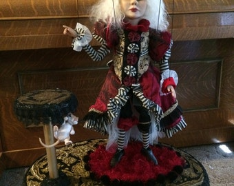 ooak MRS  Mad Hatter  Alice in Wonderland puppet marionette art doll sculpture fae faeries fairy mouse spilled tea