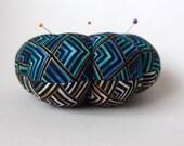 Pincushion Blue Gold Aqua FABRIC. Great for a sewing gift - Round Pin cushion - quilting fabric. handmade pincushion. Pins needle holder.