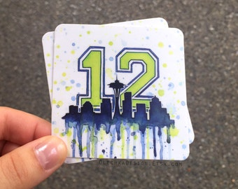 Seattle Seahawks 12th Man Decal STICKERS; Space Needle Art; Durable Vinyl Weatherproof; Sports Fan Decal