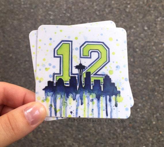 Seattle 12th Man Decal STICKERS; Space Needle Art; Durable Vinyl Weatherproof; Sports Fan Decal