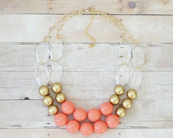 Gold and Coral Statement Necklace, Chunky Beaded Necklace, Multi Strand Coral Bib Necklace