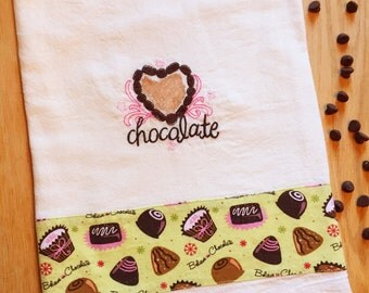 Embroidered dish towel CHOCOLATE / LOVE / TRUFFLE theme, flour sack style