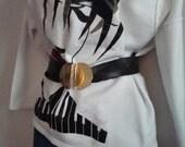 Adjustable Black Faux Leather 1980s/90s Belt with Unique Buckle