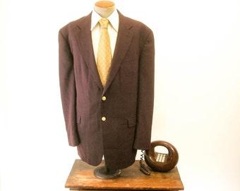 1970s Eggplant Suit Jacket Vintage Mens Textured Dark Purple Linen Look Blazer / Sport Coat by Stafford - Size 48 Long (XL)