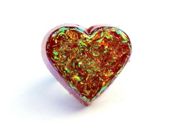 Iridescent Red Heart Ring, Glitter Resin Ring, Red Heart Ring, Funky Jewelry, Novelty Ring, Glitter Resin Jewelry, Valentines Day Ring