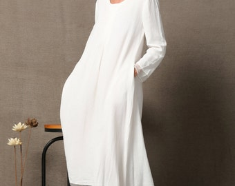 White Linen Dress, Handkerchief Hem ,Loose-Fitting Floaty Casual Plus Size Women's Clothing  C560