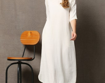 Simple Linen Dress - White Women's Dress with Red Embroidered Shoulder Details Three-Quarter Length Sleeves  C570