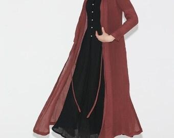 Red Linen Maxi Dress jacket  C690