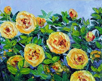 Yellow Rose Painting Garden Flower Floral Textured Palette Knife Original Oil Painting Small Canvas Ready to Hang Gift for her, Mom