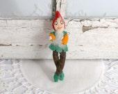 Vintage Elf Pin, Christmas Pixie Pin, Felt Poseable Elf Pin,