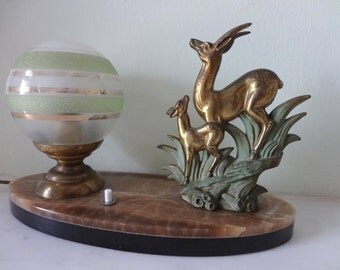 French Art Deco Deer and Fawn Sculpture Lamp -Table Lamp Light on Marble 1940s - Green Gold Striped Shade - Great Condition